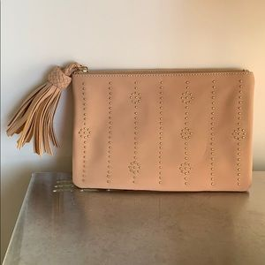 VINTAGE FAUX SUEDE POUCH WITH TASSEL
